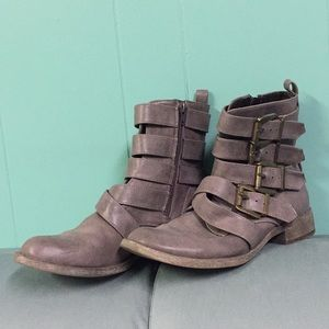 MIA MELBA WASHED GRAY BRASS BUCKLE ANKLE BOOTS